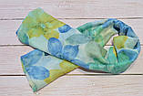 Шарф снуд женский нежный в виде хомута из хлопка легкий на лето Eternity желтый с голубым, фото 3