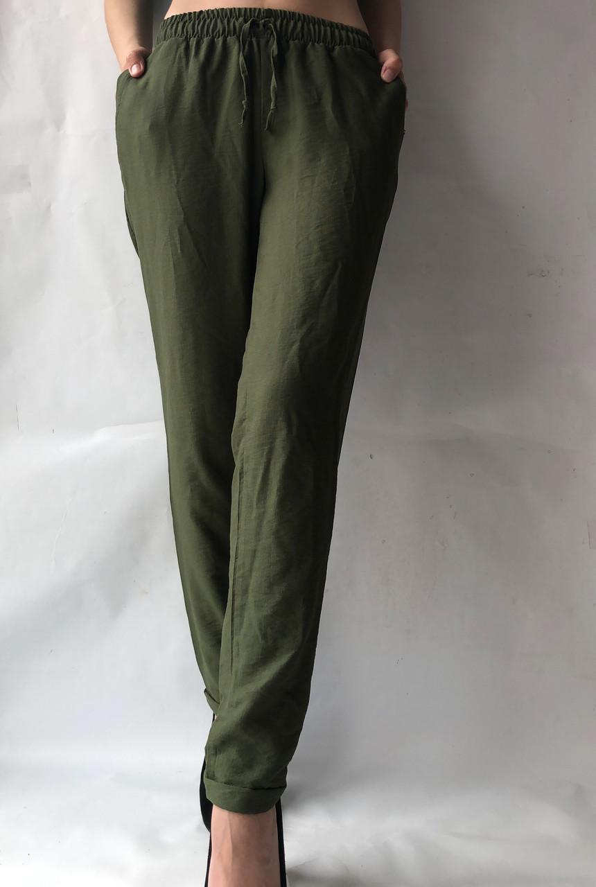 Летние брюки из льна жатки №23 БАТАЛ темный хаки