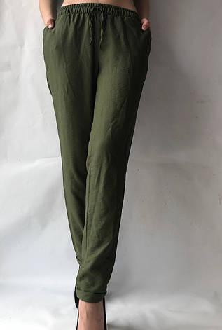Летние брюки из льна жатки №23 БАТАЛ темный хаки, фото 2