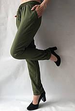 Летние брюки из льна жатки №23 БАТАЛ темный хаки, фото 3