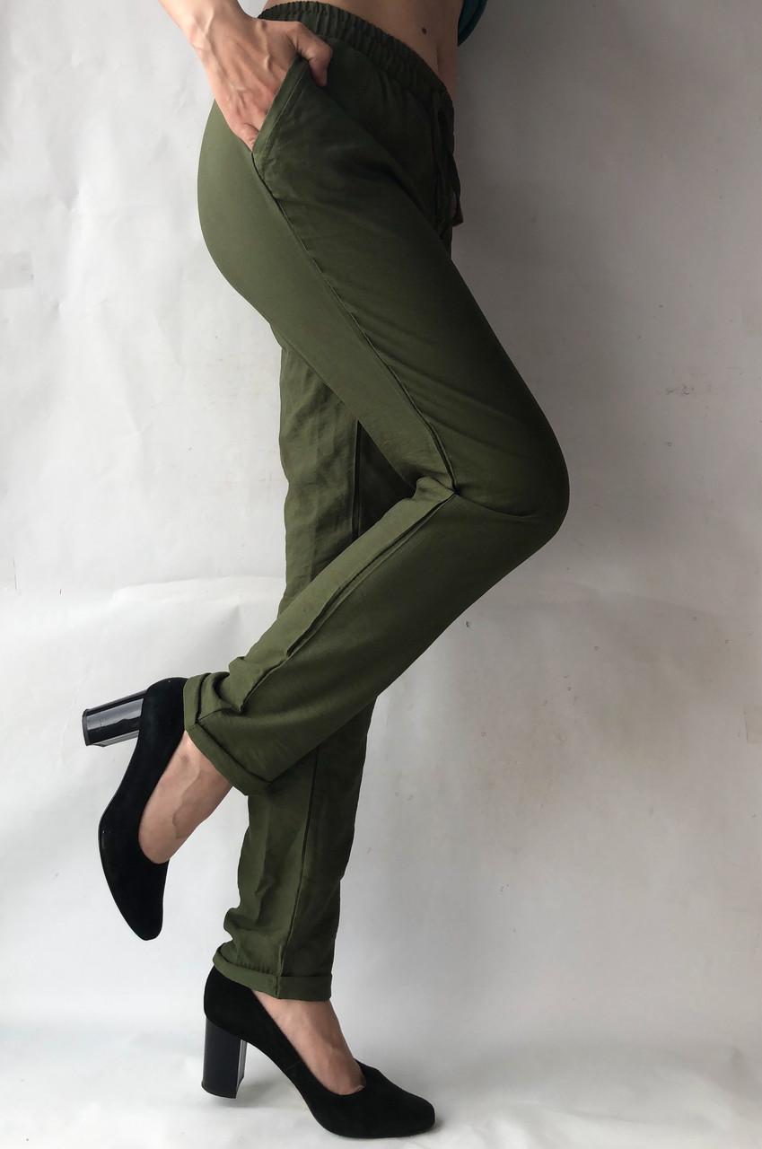 Женские летние штаны, №23 лен жатка темный хаки