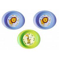 Набір дитячого посуду Nuvita тарілочки 6м+ 3шт. глибокі сині і салатова (NV1422Blue)