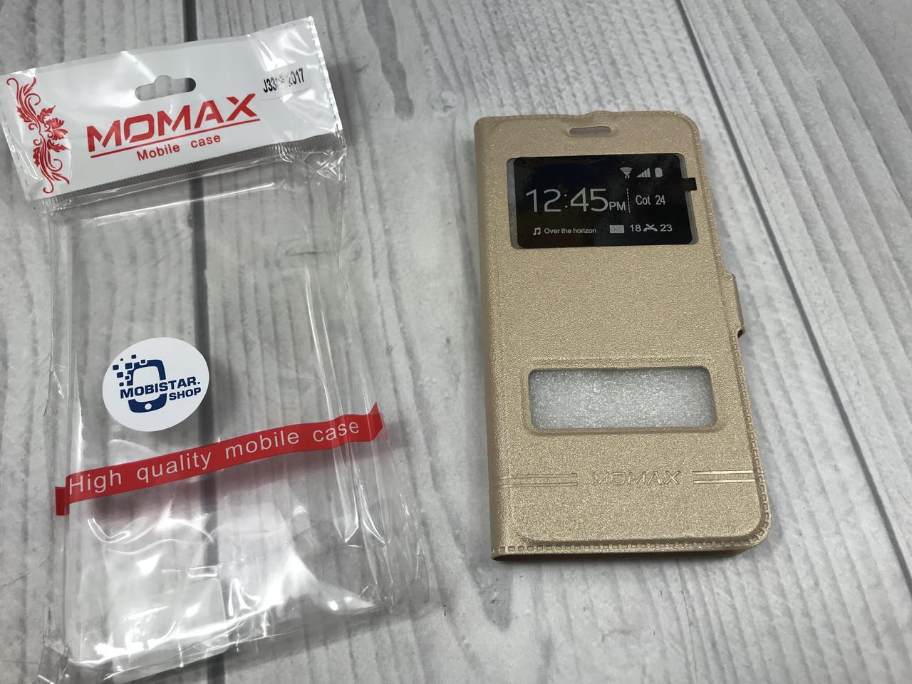 Чехол-книжка Moмax для Samsung J3 2017 (J330) gold