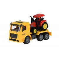 Спецтехніка Same Toy інерційний Truck Тягач Жовтий з трактором (98-613Ut-1)
