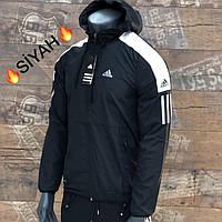 Ветровка мужская Adidas чёрная. Куртка чоловіча Adidas чорна.