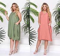 Р 50-56 Летнее платье без рукавов, средней длины Батал 21662, фото 1