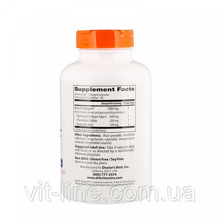 Гиалуроновая кислота с сульфотом хондроитина от Doctor's Best (180 капсул), фото 2