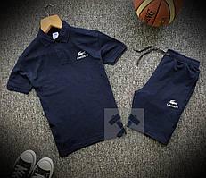 Шорты и футболка поло Lacoste синего цвета (Летний мужской спортивный костюм Лакост 90% хлопок)