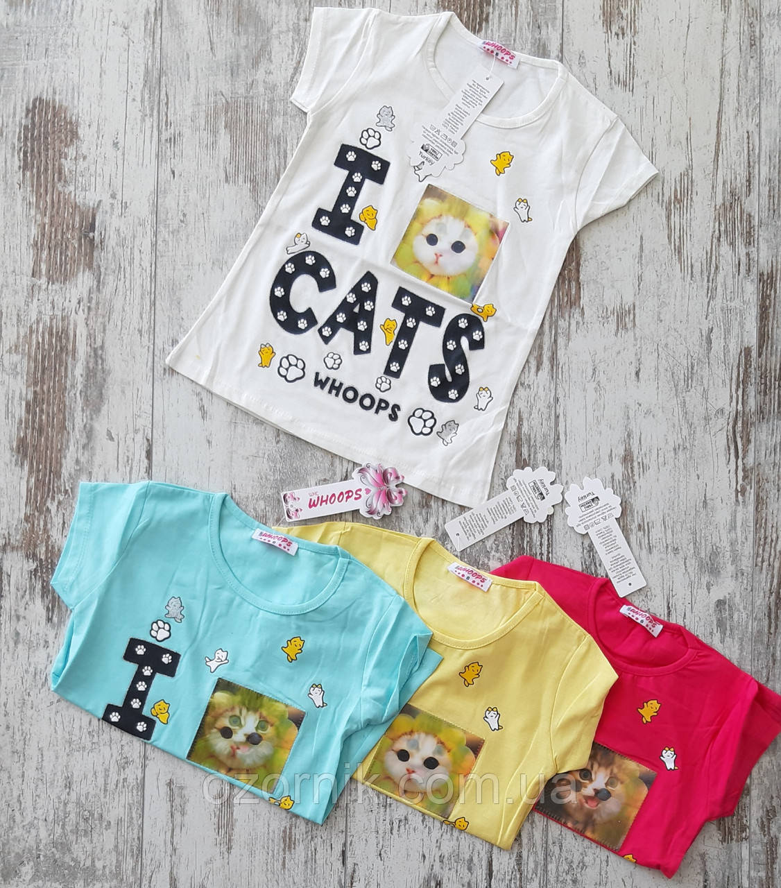 футболка девочка котик
