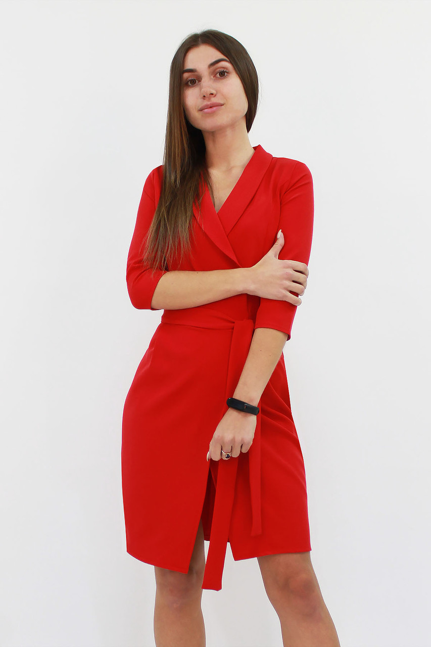 S, M, L   Коктейльне плаття на запах Alisa, червоний