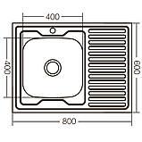 Кухонная мойка накладная ZERIXZ8060L-06-160E (satin) (ZX1616), фото 3