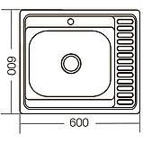 Мойка кухонная ZERIX Z6060L-04-160E (satin) (20шт/ящ) (ZM0567), фото 2