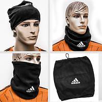 Флисовый горловик-шапка, маска гейтор Adidas Адидас черный