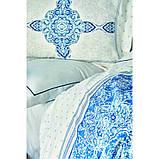 Комплект постельного белья Karaca Home ранфорс евро размер Perissa mavi, фото 2