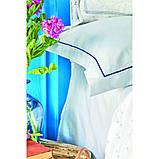 Комплект постельного белья Karaca Home ранфорс евро размер Perissa mavi, фото 3