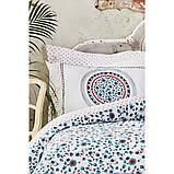 Комплект постельного белья Karaca Home ранфорс евро размер Mai lacivert, фото 2