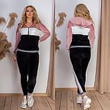 Костюм жіночий велюровий спортивний, прогулянковий, повсякденний, з капюшоном, норма і батал, фото 3