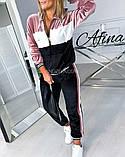 Костюм жіночий велюровий спортивний, прогулянковий, повсякденний, з капюшоном, норма і батал, фото 6