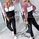 Костюм жіночий велюровий спортивний, прогулянковий, повсякденний, з капюшоном, норма і батал, фото 2