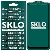Протиударне Захисне і Загартоване Скло SKLO 5D (full glue) для Xiaomi Redmi Note 8 Олеофобним / з Рамкою по
