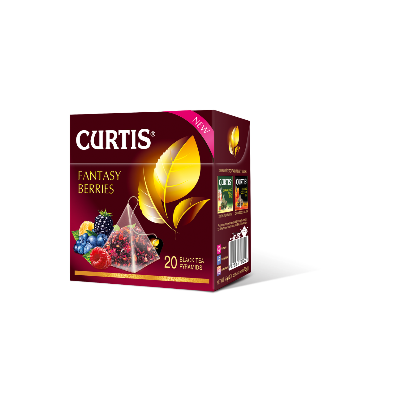 Чай черный  байховый пакетированный с ягодным вкусом и лепестками каркаде Curtis Fantasy Berries, 20 пирамидок