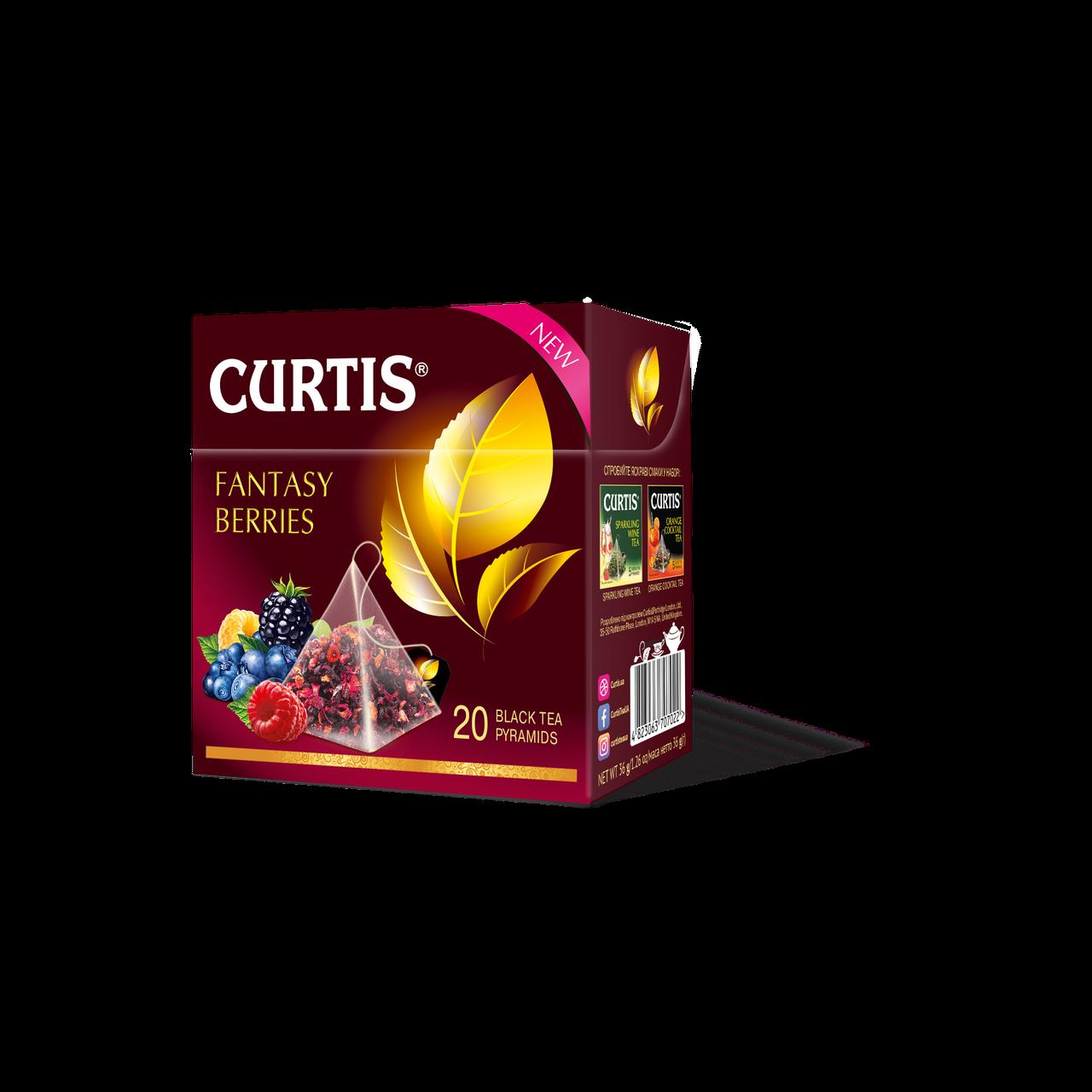Чай черный в пирамидках с ягодным вкусом Curtis Fantasy Berries (Кертис), 20 пирамидок