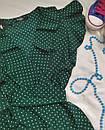 Зеленое женское платье в горошек с рюшами, фото 2