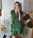 Зеленое женское платье в горошек с рюшами, фото 3