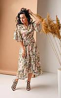 Летнее нарядное светлое розовое платье с рюшами под пояс размер 42,44,46,48,50