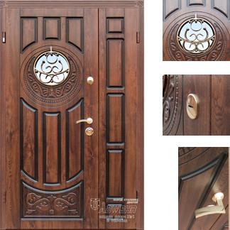 Дверь входная металлическая ZIMEN,179 Luck ковка,Vinorit Дуб темный + патина, 1200х2050, Левая