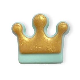 Корона (золото- мята)  бусина из пищевого силикона