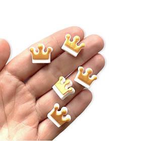 Корона (золото- белая)  бусина из пищевого силикона