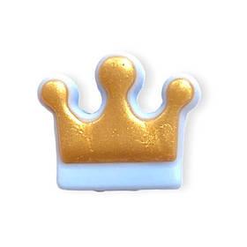 Корона (золото - беби блю) бусина из пищевого силикона