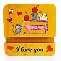 Подставка держатель для мобильного телефона смартфона планшета мышки на торте i love you