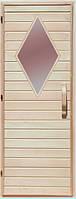 Дерев'яні двері зі склом для сауни Україна 70х190 липа