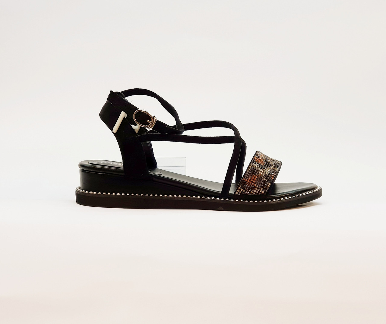 Женские сандали на низкой танкетке искусственная замша коричневые леопардовые черные