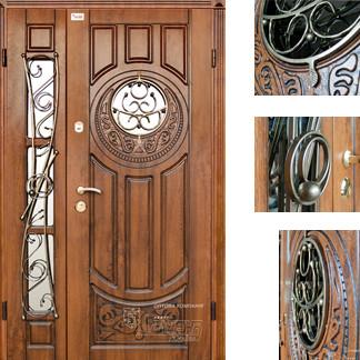Дверь входная металлическая ZIMEN,196 Milita ковка,Cottage,Kale, Vinorit Дуб золотой + патина,1200х2050, Права