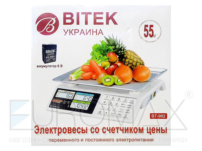 Весы электронные торговые BITEK 55кг 4В металлические кнопки 6шт YZ-982S