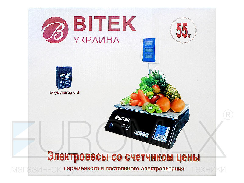 Весы электронные торговые BITEK 55кг 6В со стойкой 4шт YZ-208+