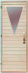 Дерев'яні двері зі склом трикутник для сауни Україна липа