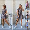Р 42-48 Літній короткий коттоновое сукня з спідницею кльош 21668