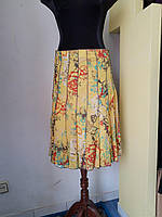 Легкая батистовая светло-лимонная юбка с цветочным принтом Solar