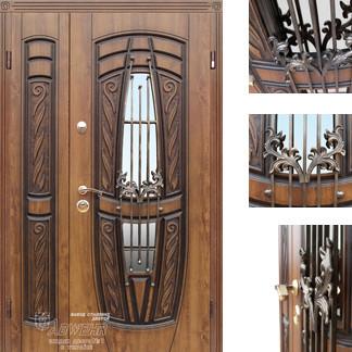 Дверь входная металлическая ZIMEN,209 Gracia ковка,Cottage,Kale, Vinorit Дуб золотой + патина,1200х2050, Левая