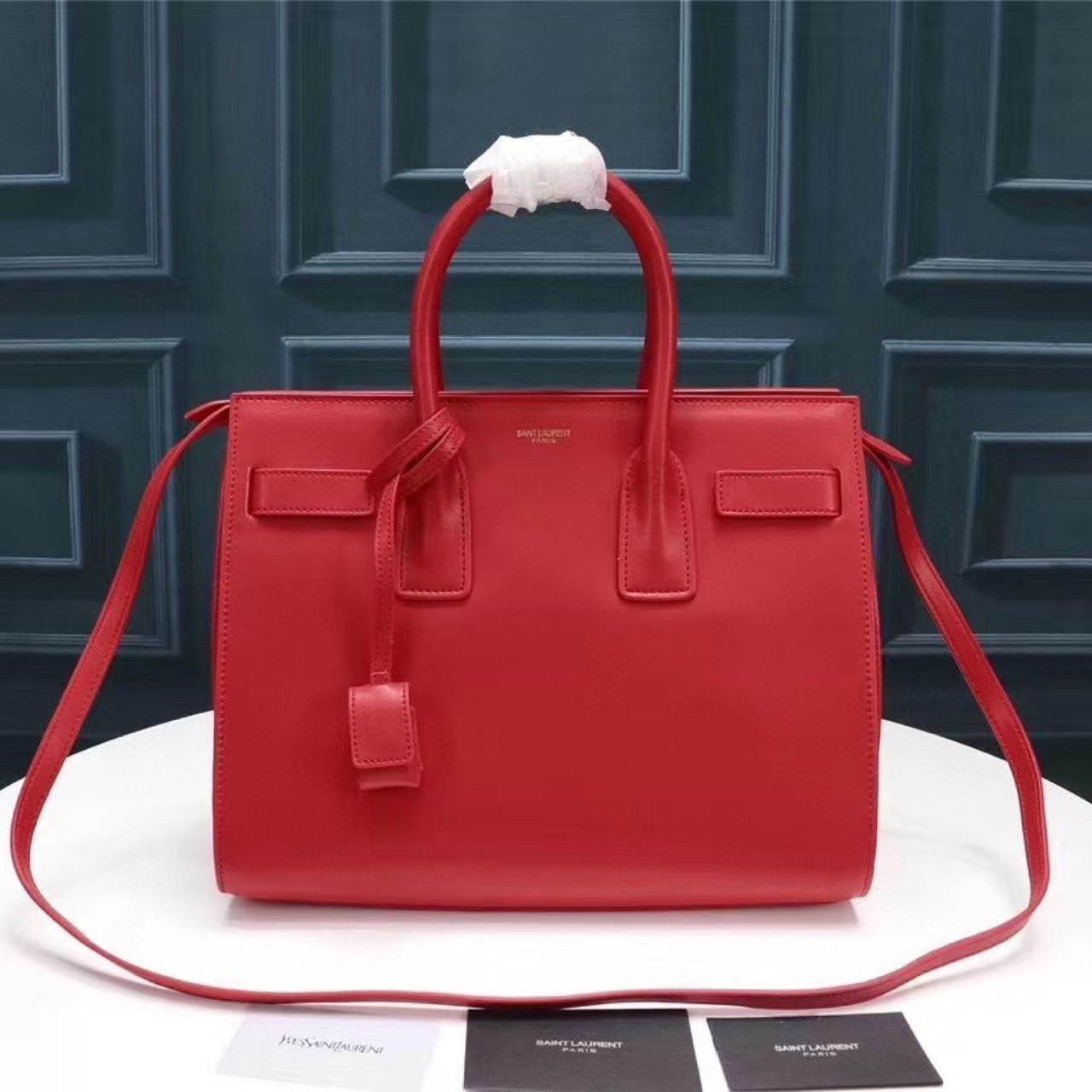 Cумка Classic Sac De Jour Ив Сен Лоран натуральная кожа  32 см, цвет красный