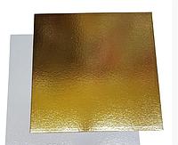 Подложка для торта 25см*25 см .Золото/серебро