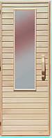 Дерев'яні двері зі склом для сауни Україна 70х200 липа