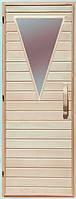 Дерев'яні двері зі склом для сауни Україна 80х210 липа