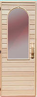 Дерев'яні двері зі склом для сауни Україна 70х200 липа (варіант 2)