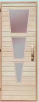 Дерев'яні двері зі склом для сауни Україна 80х190 липа (варіант 2)