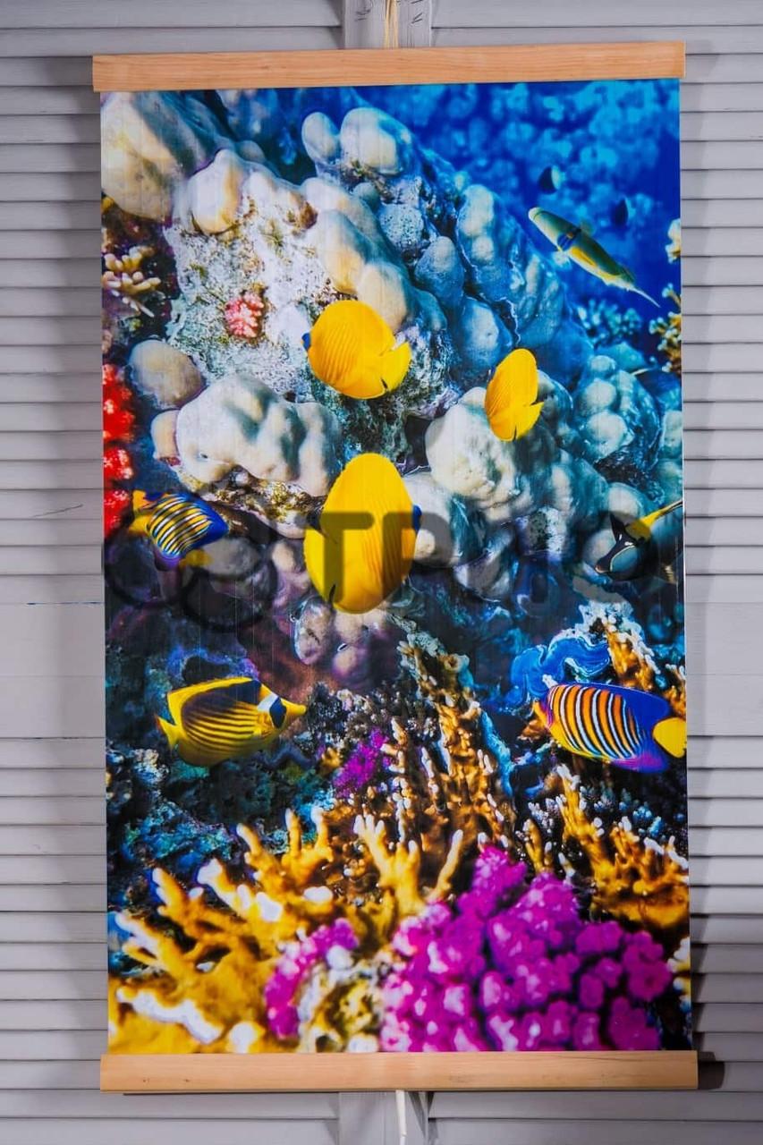 """Настенный обогреватель """"Коралловый риф ( рыбки )"""" Размер 100х57 см., Мощность 400 Вт., макс. темп. 75 С"""
